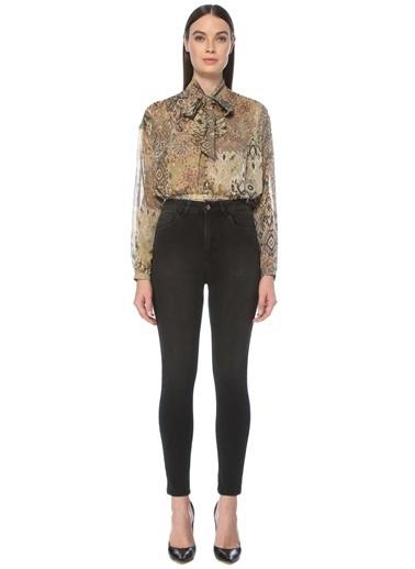 NetWork Kadın 1077370 Slim Fit Karışık Desenli Crop Bluz Bej